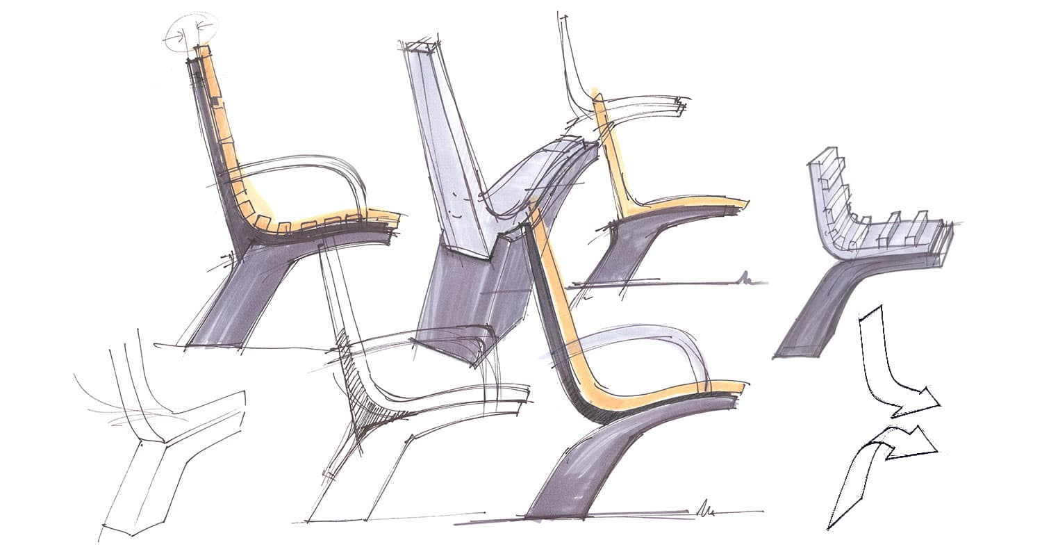 Joanna Boothman groen design street furniture seating concept sketches